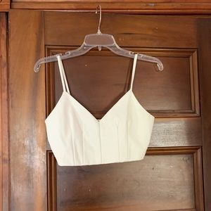 NWOT white faux leather crop top